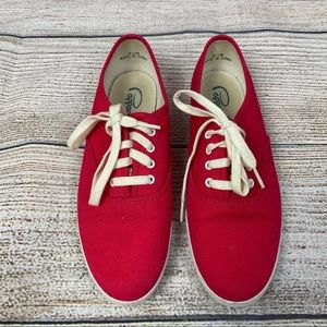 Pappagallo Red Canvas Oxford Sneakers, Sz 8 1/2